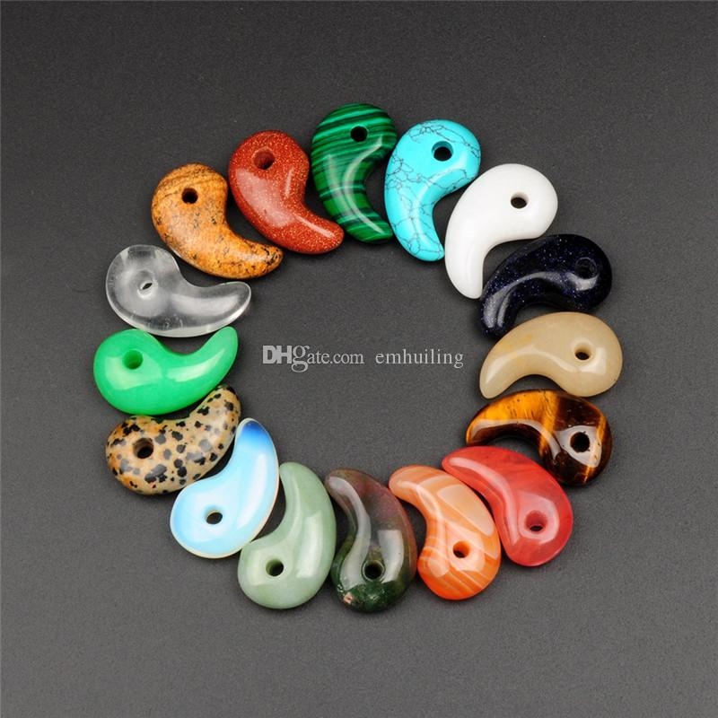 Random Colors Agate Dalmation Jasper Pendulum Beads Cashew Comma Charms Pendants Fit Original Bracelet Necklace DIY Quartz Jewelry