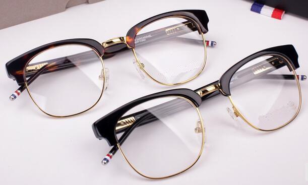 Livraison gratuite Lunettes-Hommes monture de lunettes tb optique TB016b cadre en verre de lecture flexible jambe de printemps oculos de grau 51mm lunettes semi-jante