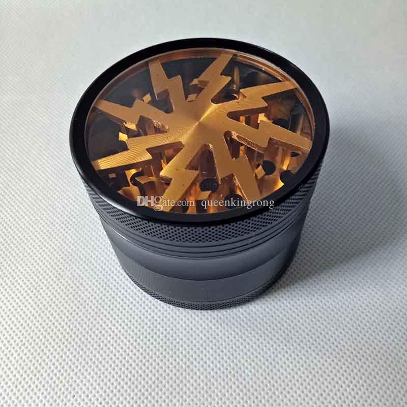 Metall Tabak rauchen Kräutermühlen 63mm Aluminiumlegierung mit Clear Top Window Lightning Lighting Schleifmaschinen Abrader 3 Styles 15 Farben