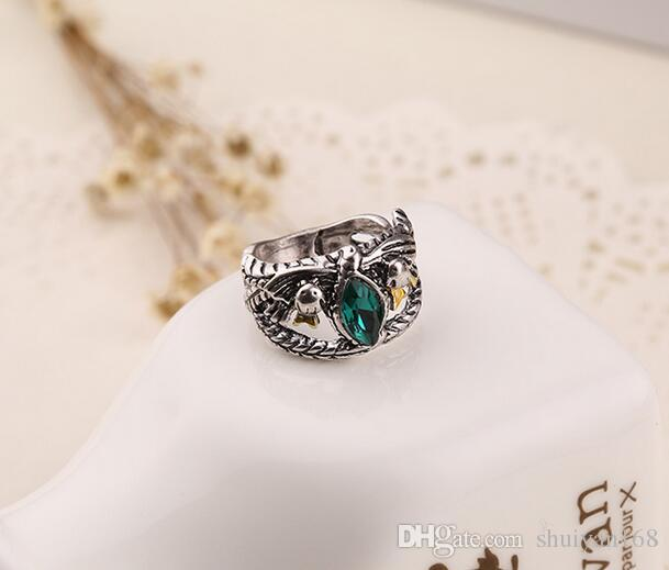 Lord of the Rings Aragorn Mens Ring Gemstone Vintage Retro the Hobbit Antique Silver Green Crystal for Men And Women Christmas Gift
