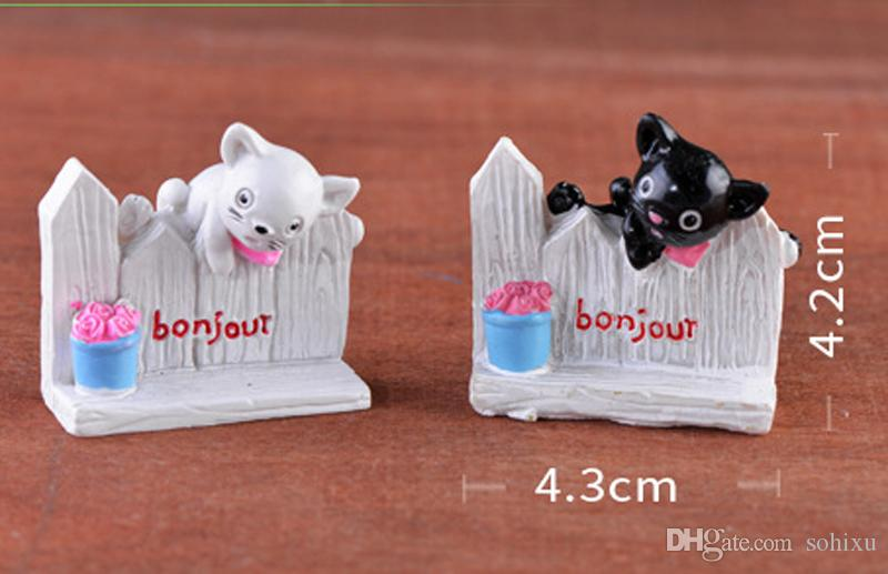 Fence Cat Statue Bonsai Tools Fairy Garden Miniatures Landscape Decor Dollhouse Crafts Terrarium Figurines Home Accessories