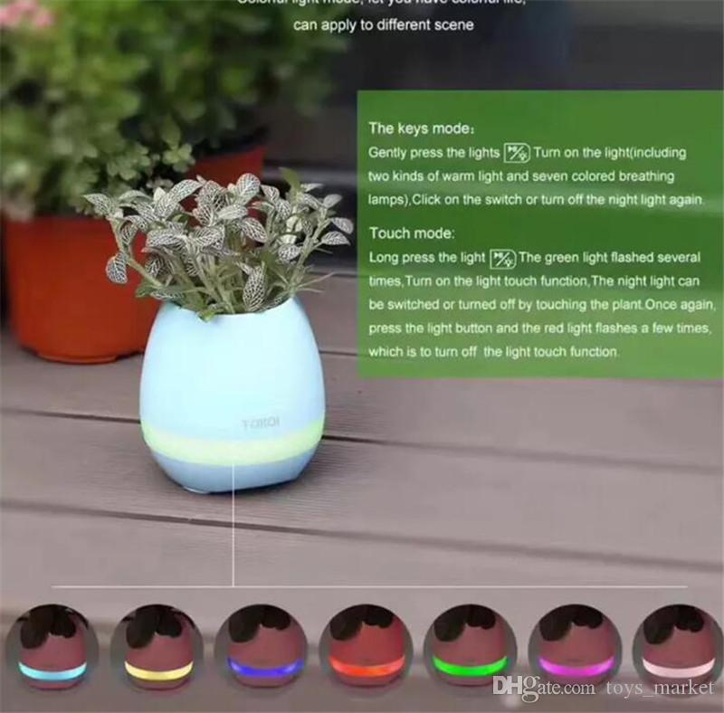 Touch Wireless Bluetooth Flowerpot Mini Subwoofer Speaker with LED Multiple Colors Home Smart Plant Office Music Player Toy