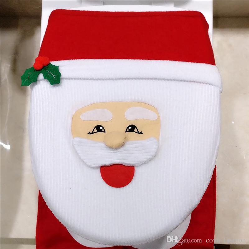 Noel Süslemeleri Noel Baba Tuvalet Tankı Kapağı Kapak Paspaslar Koltuk Örtüsü ve Halı Seti Banyo Set ELCD037