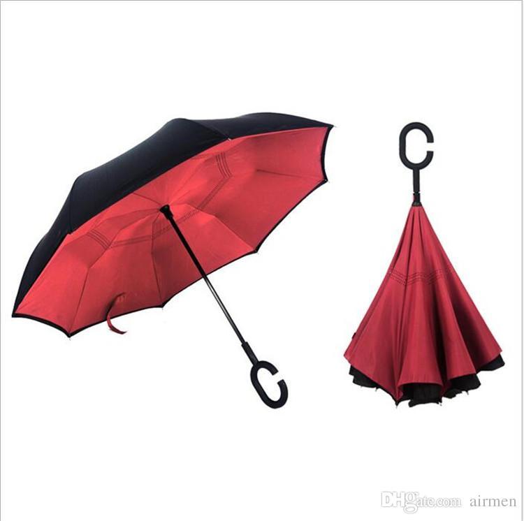 Alta calidad a prueba de viento Revertido Plegado Doble Capa Invertida Paraguas Chuva Auto Stand Inside Out Protección contra la lluvia C-Hook Hands