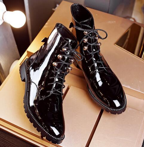 cf7679a7dbd New Style Patent Leather Boots Women Lace Up Motorcycle Boots Designer  Ankle Booties Ladies Winter Plush Warm Shoes flats with women