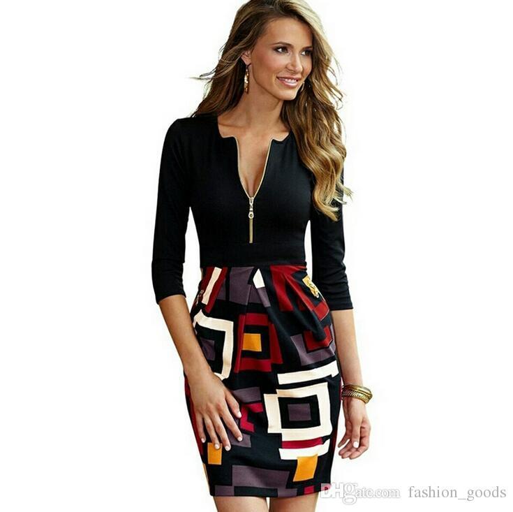 Best gift Hot spring women's sexy zipper Slim dress geometric stitching pencil skirt NLX009