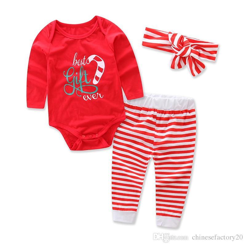 Ensembles de vêtements de Noël pour bébé Nouvelle Automne Lettre Stripe Imprimé Vêtements de Nuit Enfants Garçons Filles Long Sleeve Cartoon Barboteuse + Pantalon + Chapeau + Bandeau Ensembles