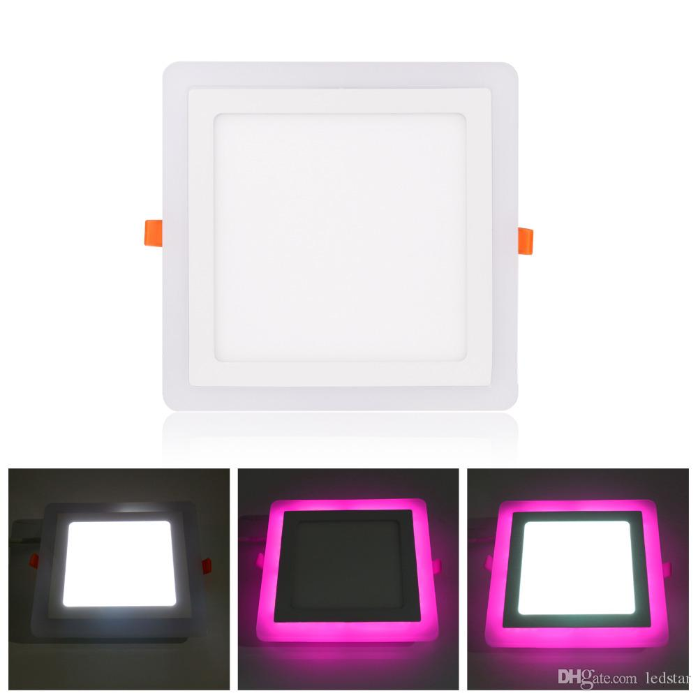 6w 9w 16w 24w Led Panel Light Double color LED Ceiling Panel Recessed Lamp Red Green Pink Blue+White