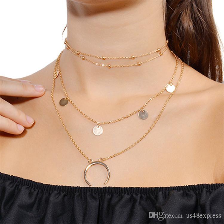 Collana di choker di colore argento oro ciondolo a strati le donne Collana di paillettes in metallo moda collana multichain all'ingrosso della fabbrica