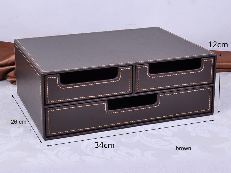 Acheter en gros double couche bureau tiroir en cuir bureau