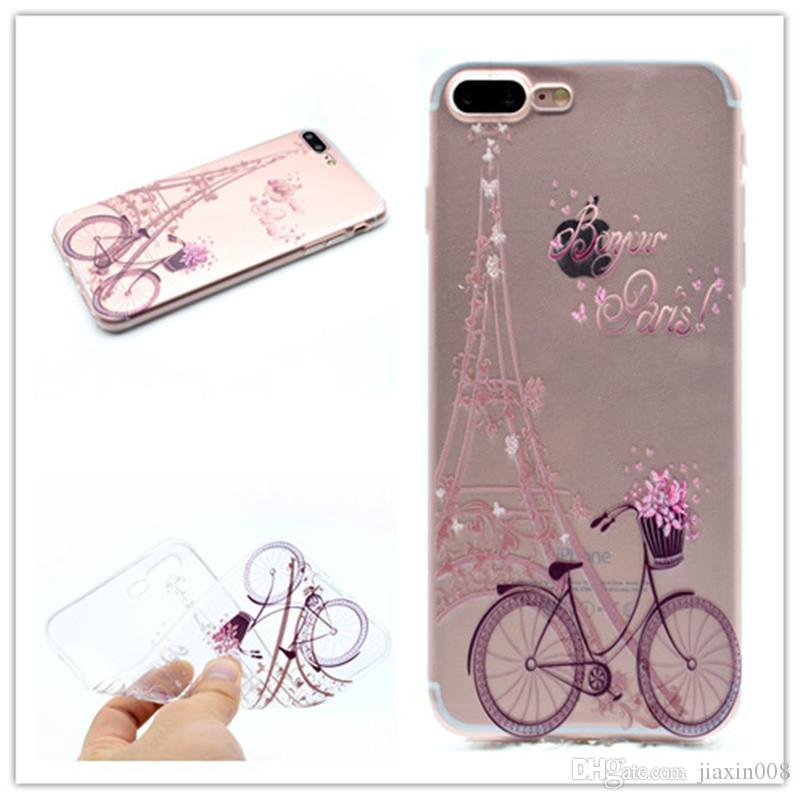 Cubierta TPU transparente para Apple iPhone 7 Plus Fashion Tower Bike Bikefly Girl Feather Design Casos de teléfono móvil para iPhone 8 Plus