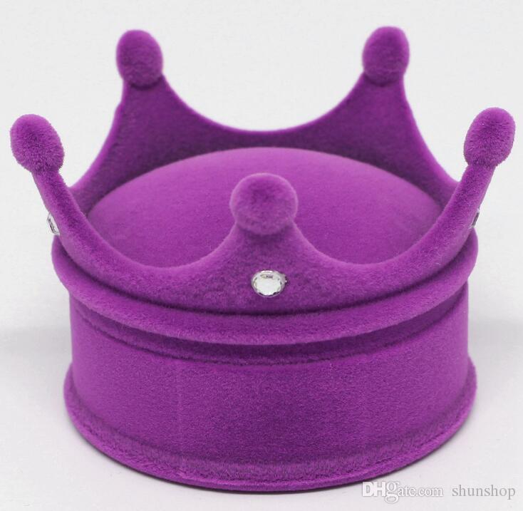 Nova Coroa Anel De Veludo Caixa de Exibição Brincos Colar Caso de Jóias Recipiente de Casamento Anel de Presente Caso Brincos de Armazenamento