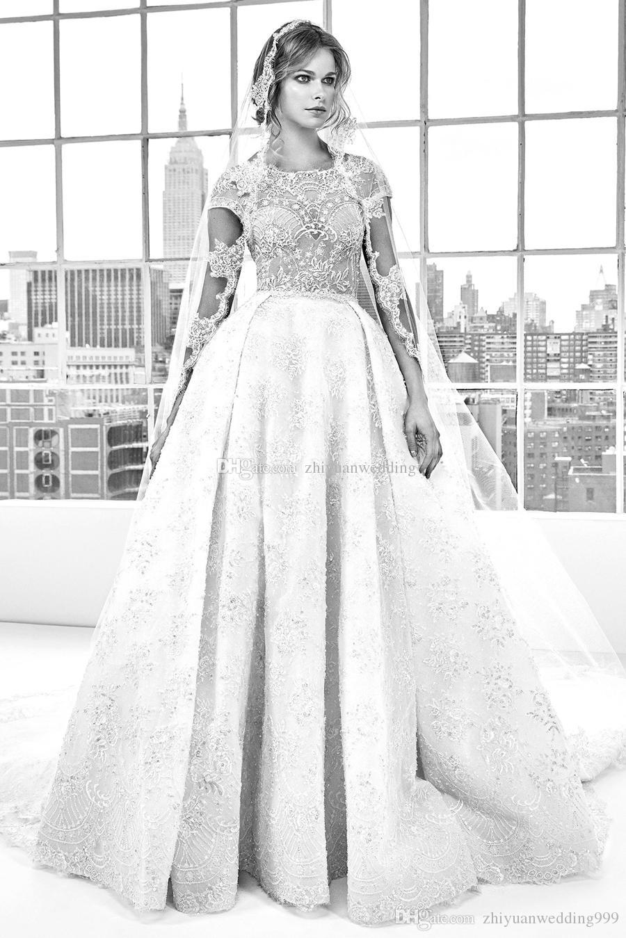 Datchable Train Ball Gown Lace Embroideried Wedding Dresses 2018 ...