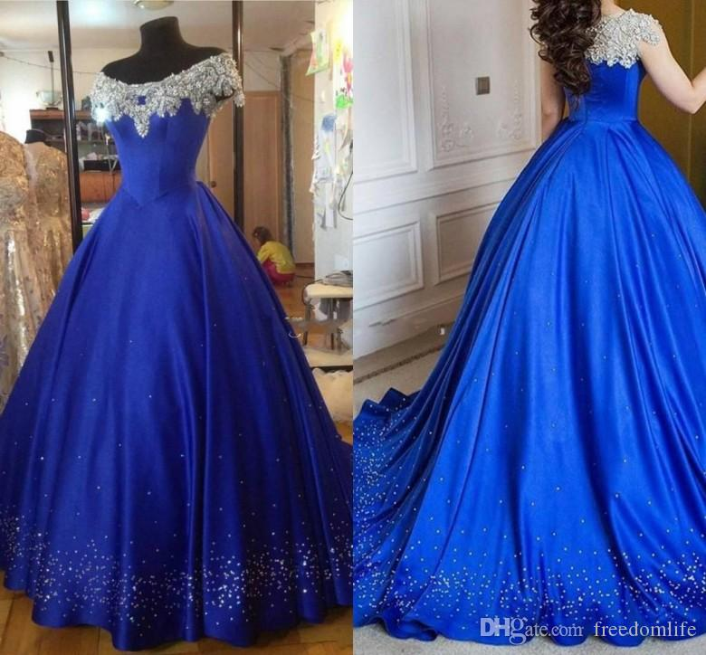 Shinny Royal Blue Ball Gown Evening Dresses 2017 Off