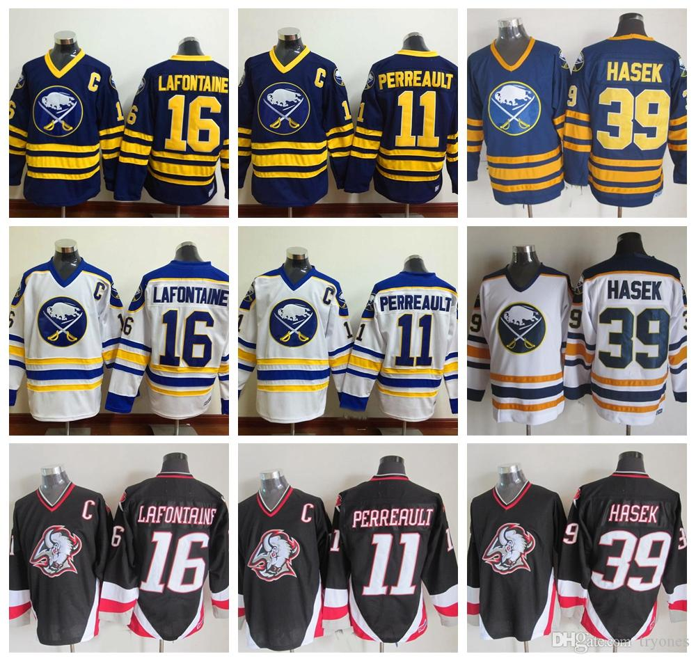 b18b779fb1a 2019 Buffalo Sabres Hockey Jerseys 16 Pat LaFontaine 11 Gilbert Perreault  39 Dominic Hasek 1992 CCM Vintage Stitched Jersey C Patch From Tryones, ...