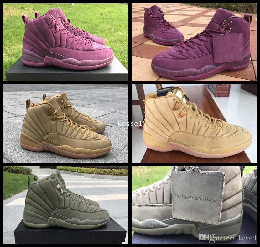 39b16e48ca0 2017 PSNY 12 Basketball Shoes For Men,12s Public School NY Mens Wheat  Purple Green Sports Sneakers With Original Box Size 8-13 Basketball Shoes  Men Shoes 12 ...