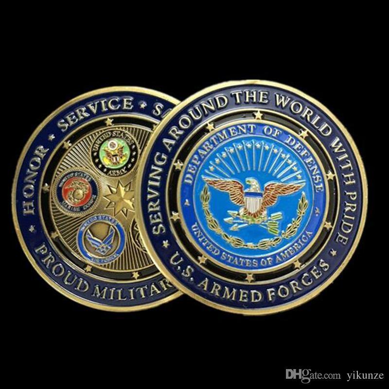 1 pz Moda Bronzo Placcato Medaglie Militari tutte le Filiali Fiera Famiglia  Militare US Sfida Monete Collezionismo spedizione gratuita