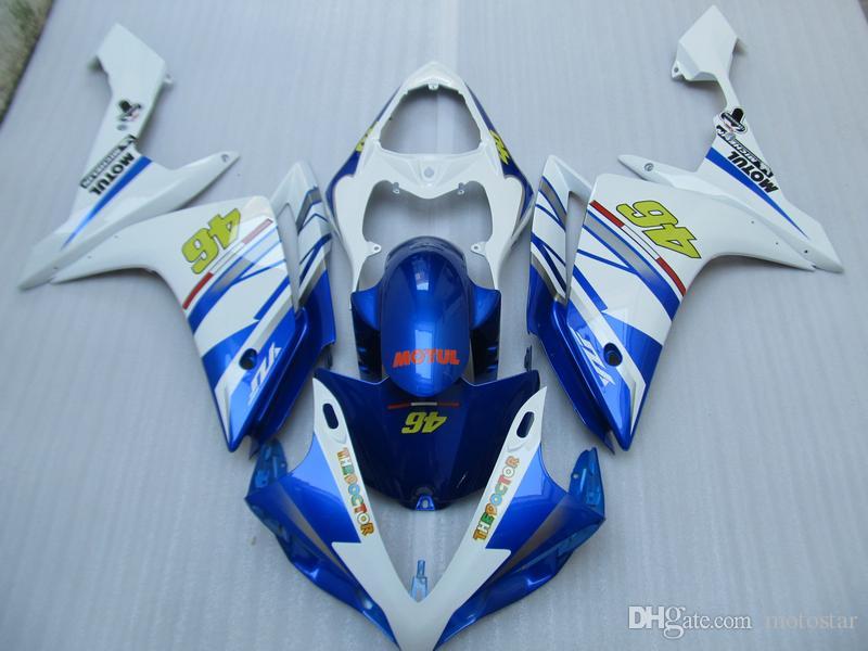 Moldeo por inyección venta caliente kit de carenado para Yamaha YZF R1 07 08 carenados blanco azul conjunto YZFR1 2007 2008 OT07