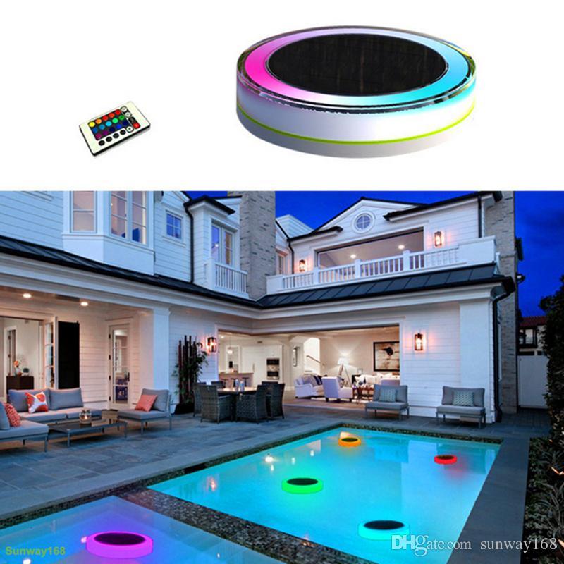 Compre luces led solares para exteriores para exteriores rgbw a todo color 24 leds ip68 a prueba - Luces exteriores solares ...