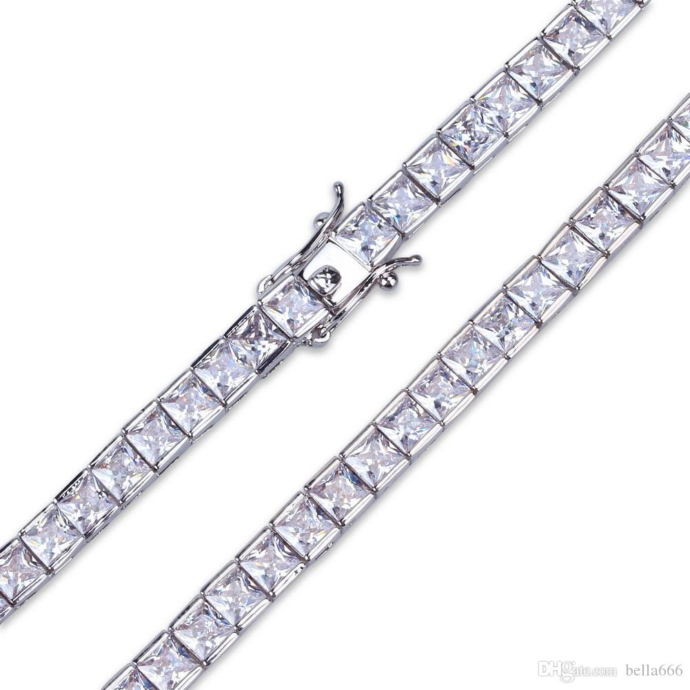 6mm Round Square Cubic Zirconia Tennis Link Chain 1 row Hip Hop Paved Full Blingbling CZ Box Clasp Necklace Top Quality Men Women Jewelry