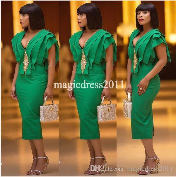 Chic 2019 Vestidos de cóctel verdes Vestido largo con volantes Sin tirantes con volantes Vestido de fiesta vestidos de graduación para árabe Dubai Nigeria Ropa de noche