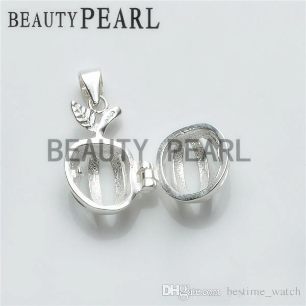 Bulk of Apple Pearl Cage Pendant Small Locket Wishing Pearl Gift 925 Sterling Silver