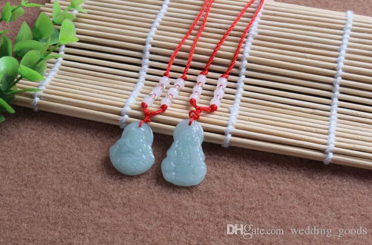 Good A++ Hot Pendant Jade Buddha Necklace Glass Ornament Red Rope Ornament WFN587 with chain a