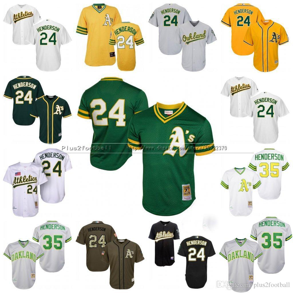 2d0a20ead ... Green Mens 35 Mitchell Ness Oakland Athletics 24 Rickey Henderson 1991  Cooperstown Throwback Baseball Jerseys Stitched Size ...