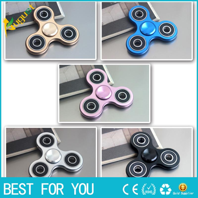 14ad9ae2686 Hot sale New arrival 5 color Tri-Spinner Fidget Toy Aluminium Fidgets Hand  Spinner For Autism and ADHD Increase Focus Keep Hands Busy