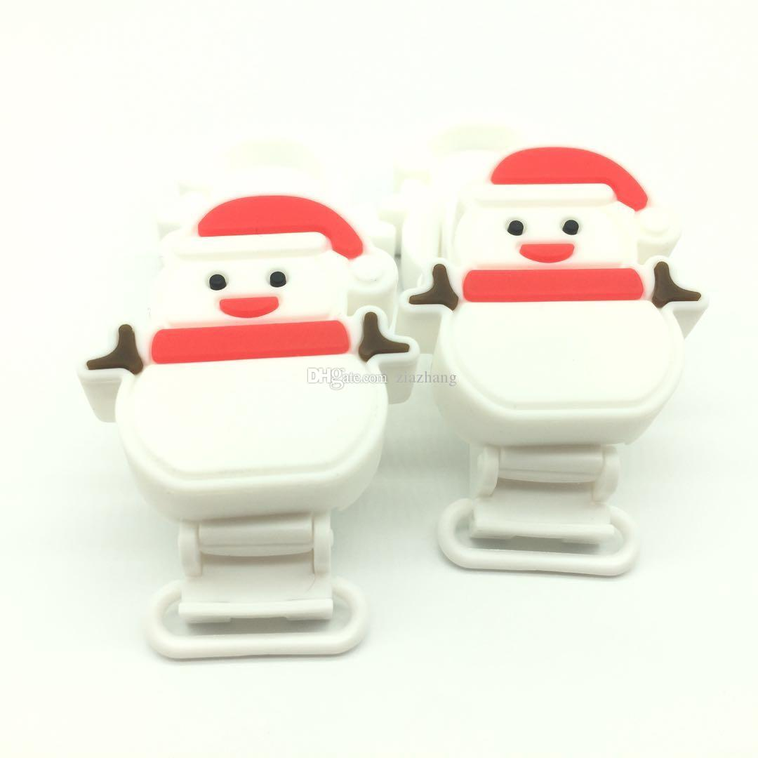 2017 Food Grade Silicone Pacifier Clips Lovely Snowman Design Teething Beads Pendant Toy Holder Clip Unique Baby Christmas Gift