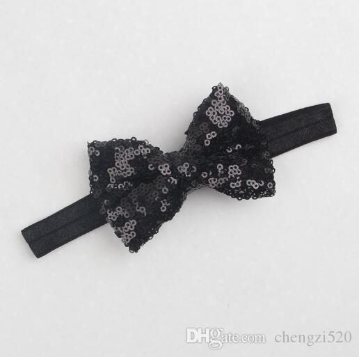 Moda poliéster sólido hecho a mano lentejuelas diadema para niñas bebé Boutique Hairband Hairband Hair Accesorio para el cabello YH633