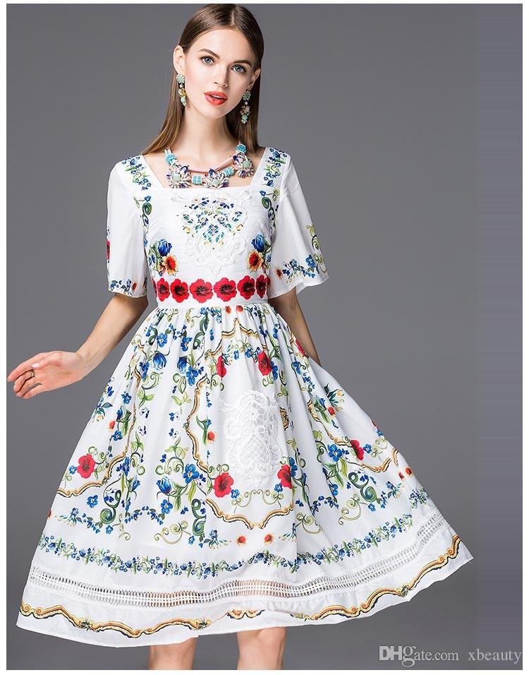 High Quality New Arrival 2018 Women's Square Neckline Short Sleeves Floral Printed Embroidery Elegant Runway Dresses in