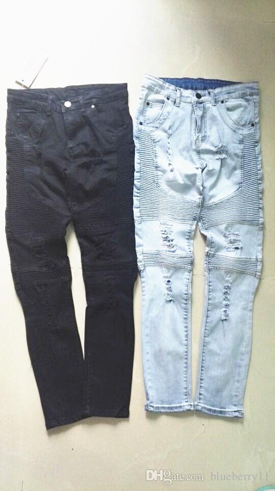 Toptan SLP Mavi / Siyah Yıkılan Erkek Ince Denim Düz Biker Skinny Jeans Rahat Uzun Erkekler Yırtık Kot Boyutu 28-38 Ücretsiz Kargo
