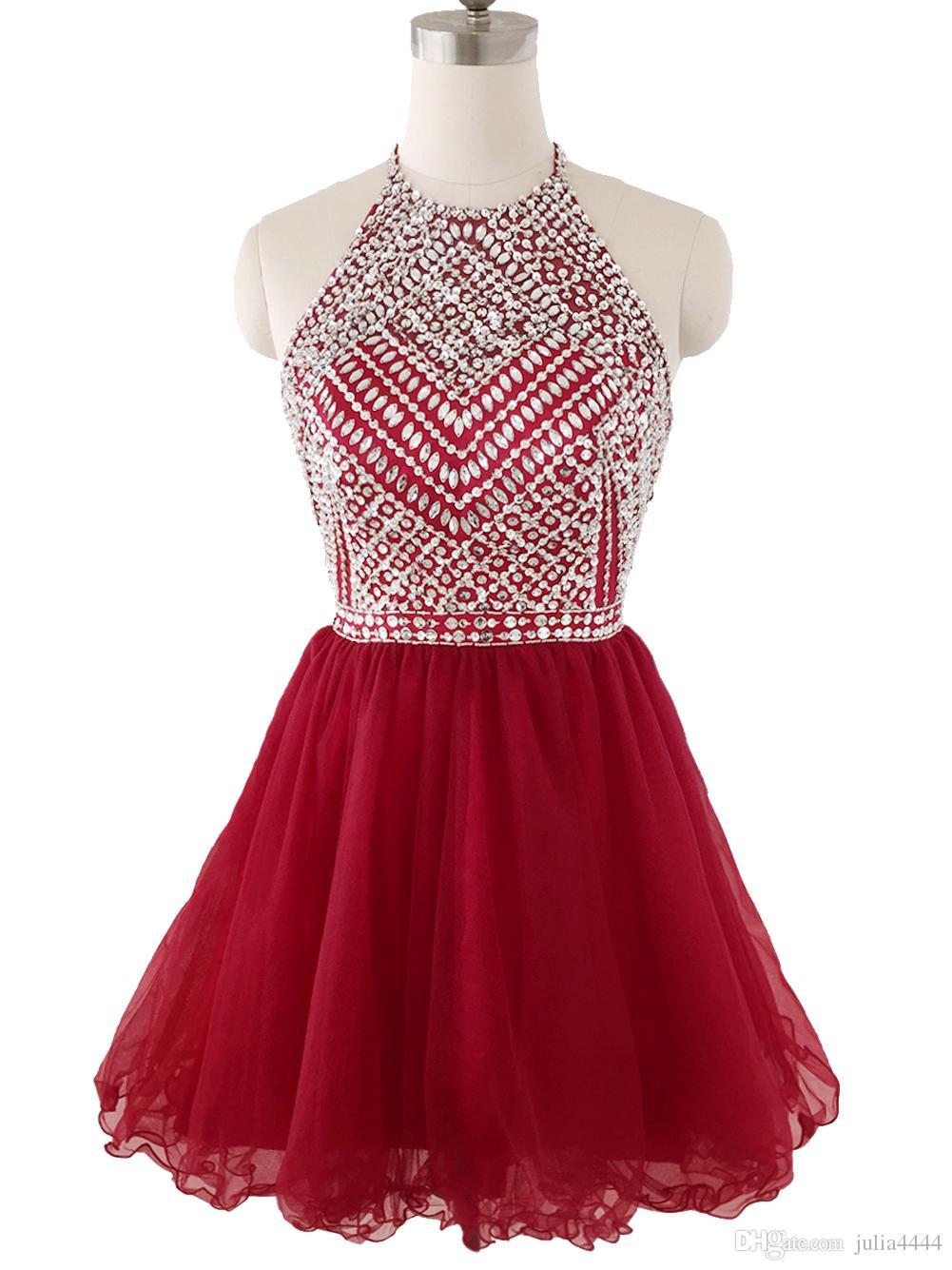 2019 Burgundy Short HomeComing платья Halter Sequins Bears Кристаллы Пухлая юбка Коктейль Партия платье младшие выпускные платья без спины