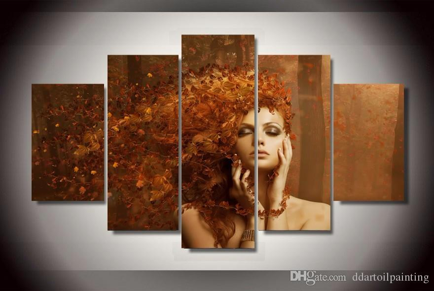 Wholesale New Abstract Autumn Leaves on The Beautiful Girl Hair Paintings Art Wall Spray Pictures for Bar Decor Unframed