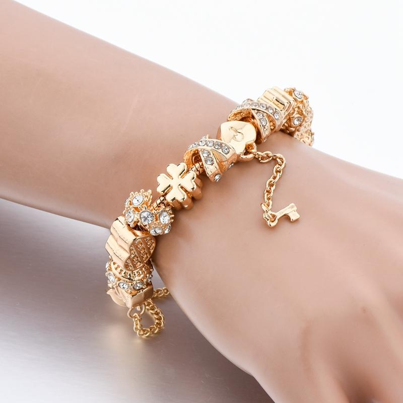 Szelam Fashion White Crystal Key Charm Bracelet For Women Gold European Diy Beads Bracelets & Bangles Pulseira SBR170013