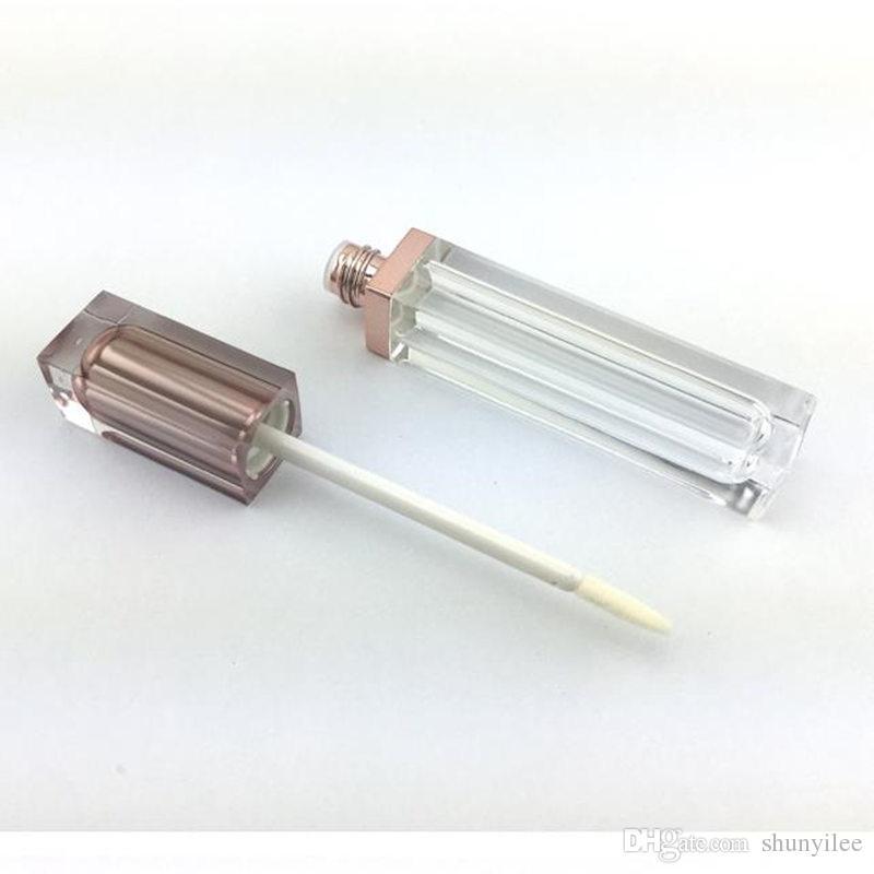 Tubo de brillo labial vacío de oro rosado de grado superior, envase plástico líquido para lápiz labial, botellas recargables de brillo labial de forma cuadrada