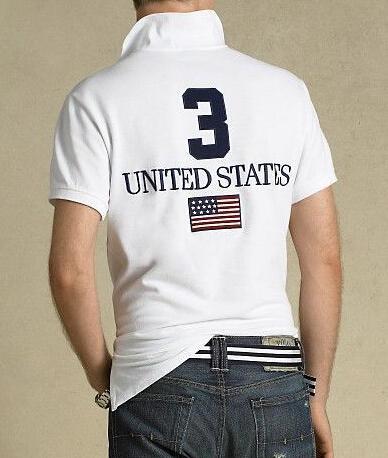Americano uomini di disegno Polo Solid Big Horse Ricamo Francia Stati Uniti Gran Bretagna Italia Bandiera maglietta del cotone Slim Fit Tennis Polo Navy Blue