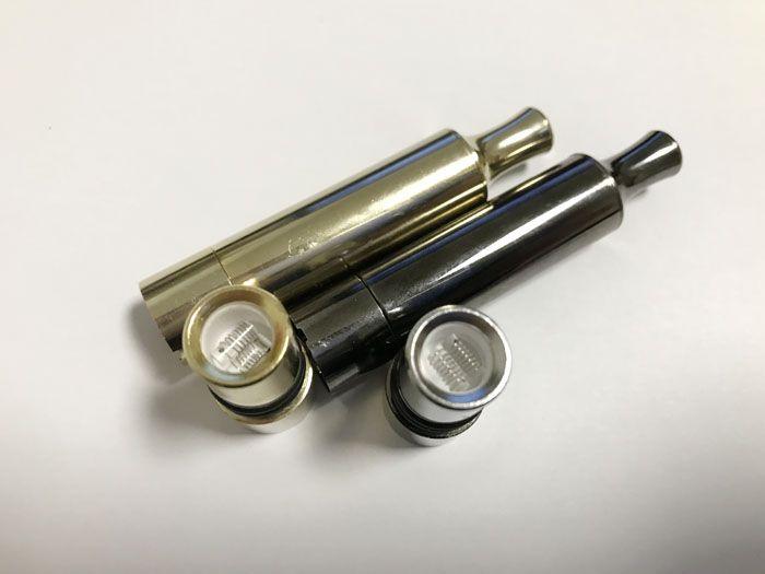 Newest Wax Vaporizer Dual Quartz Coils Full Gold Color Metal Straight Tube Atomizer Vaporizer VS Glass Globe Atomizer Wax Vaporizer ecigs