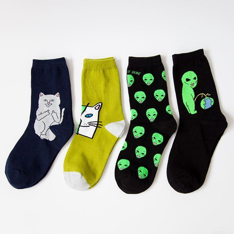 New Cotton Socks for Women Men Cat Alien Socks Hip hop Cool Harajuku Funny Socks 36-42