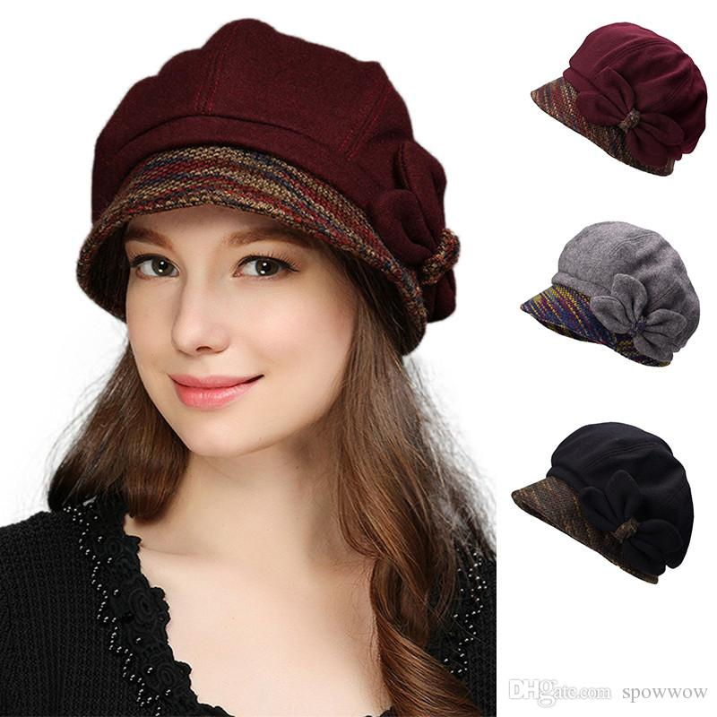 643f6db89f78e 2019 Butterfly Trim Womens Winter Hat Crushable Cloche Bucket Visor Wool  Blend Church Dress Party Cap T297 From Spowwow