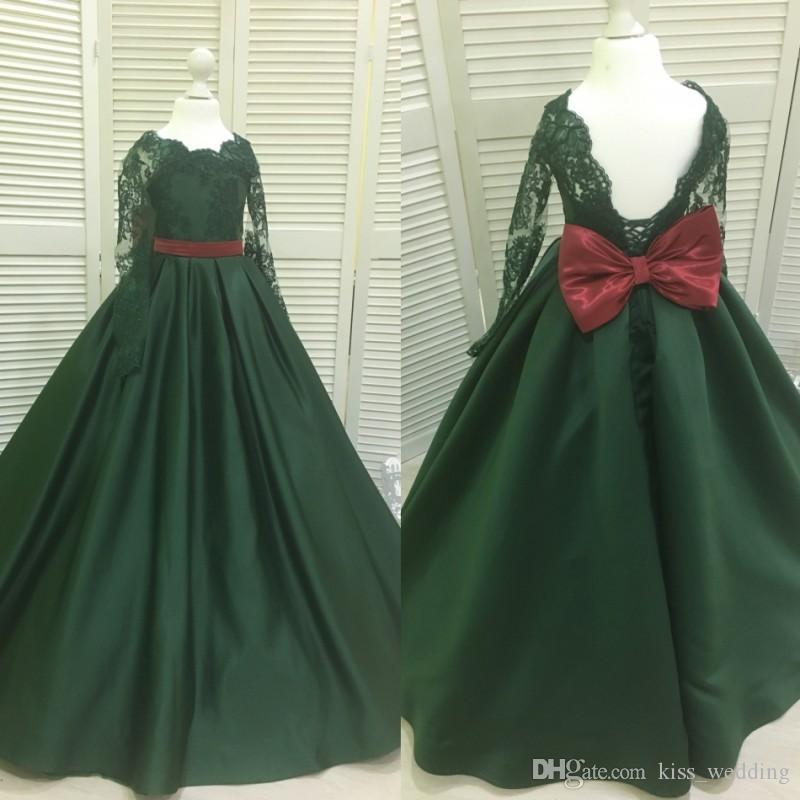 b218c3d20824 Vintage Lace Satin Dark Green Girls Pageant Dresses With Bow Long Sleeves  Children Formal Dress Kids Toddler Gowns Lace Up Custom Made Canada 2019  From ...
