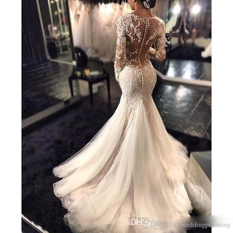 2017 New Sheer Sexy Lace Mermaid Wedding Dresses Dubai African Arabic Petite Long Sleeves Natural Slim Fishtail Bridal Gowns Custom made