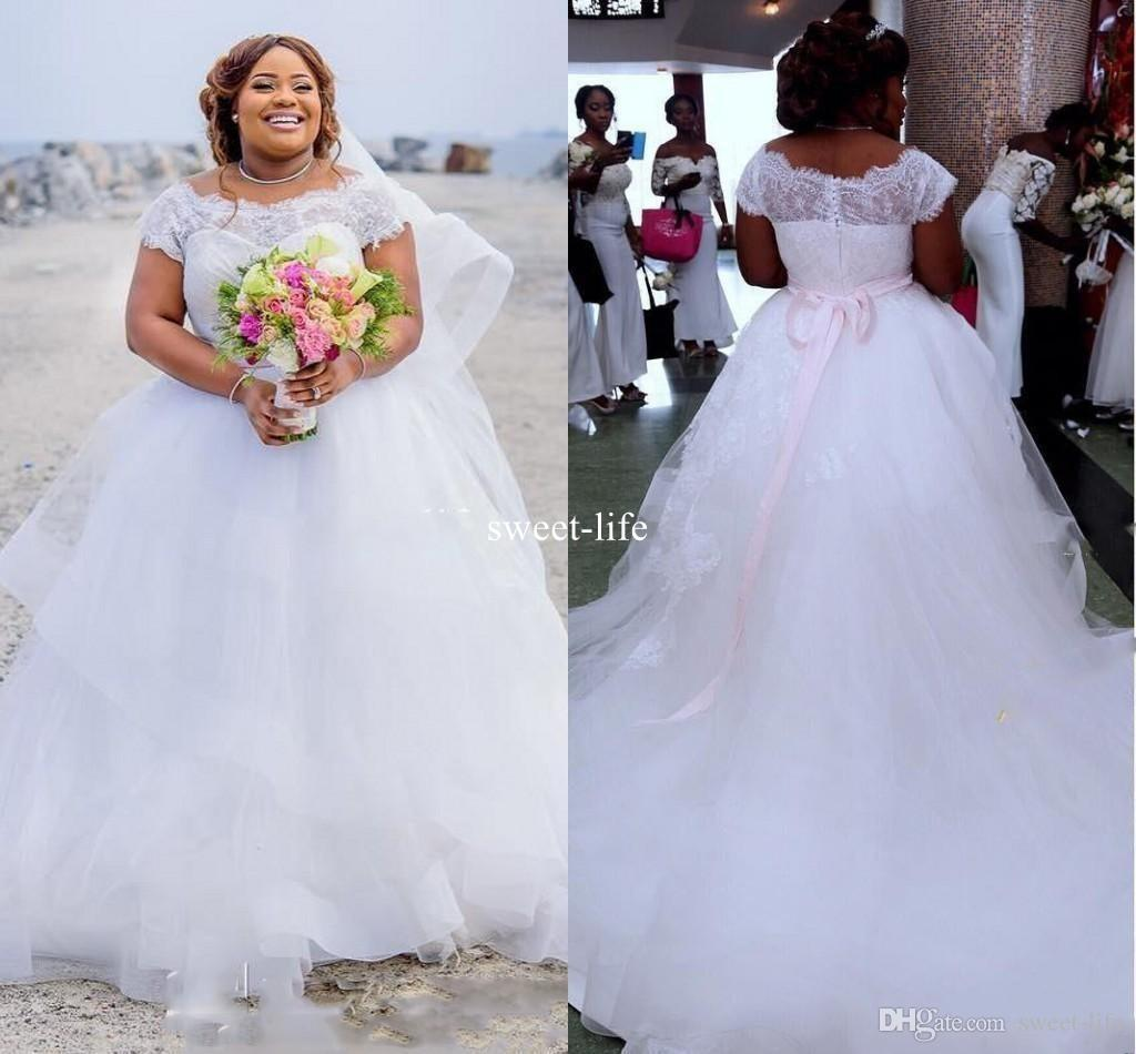 Plus Size 2020 Ball Gown Wedding Dresses Lace Illusion Scoop Neck Tulle African Bridal Gown robes de mariée