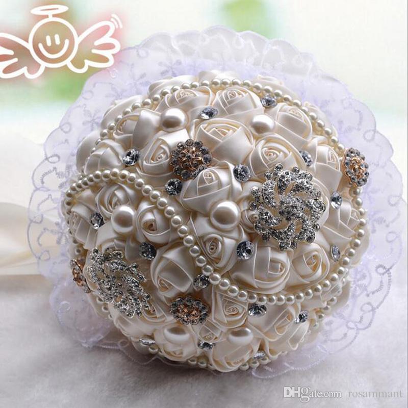 Nouveau style Crystal Broche Custom Custom Bouquet Artificial Satin Fleurs De Mariage Bouquet De Jeunesse d'honneur Perles Accessoires de mariage