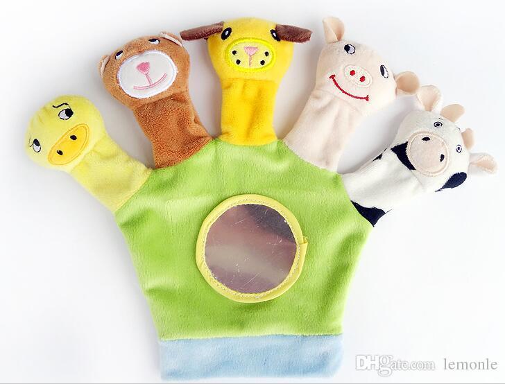 Animais de pelúcia fantoche de mão boneca brinquedos fazenda fantoche de dedo crianças brinquedos marionete