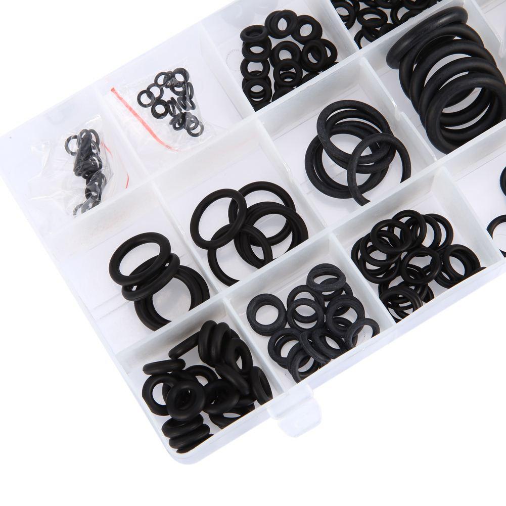 Nueva herramienta 18 Tamaños 225 x Junta tórica de goma Junta tórica arandela Surtido Negro para automóvil
