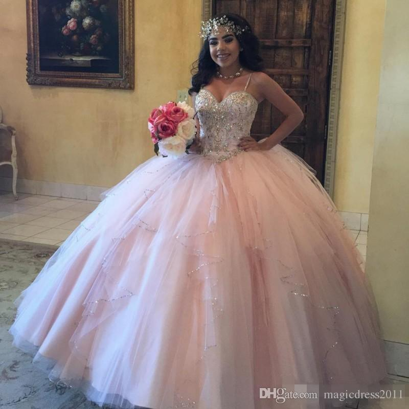 Plus Size Pink Girls Quinceanera Dresses Spaghetti Straps Corset Back Sparkly Sequins Crystals Tulle 2019 Sweet 16 Prom Birthday Party Gowns