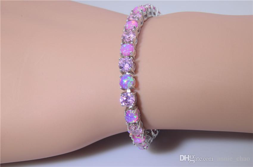 Vendita al dettaglio all'ingrosso Moda 7 pollici Fine rosa arcobaleno fuoco opale braccialetto 925 gioielli nastro le donne BJF160320