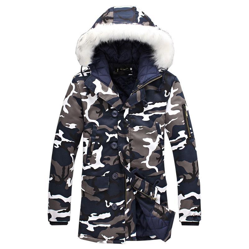 a5bb3c6c38e Men Cotton-Padded Winter Jackets Parkas Men s Casual Fashion Slim Fit  Hooded Long Fur Collar Camouflage Warm Jackets Coats Outdoor Coat Coats Men  Jackets ...